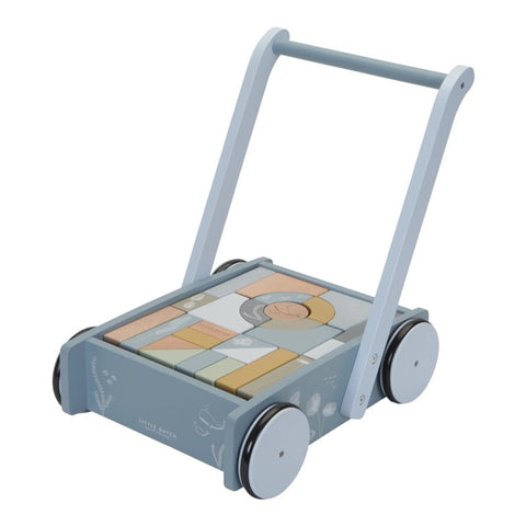 Baby Walker Baby Walker and Trolley With Wood Blocks Blue Little Dutch - Play Offside