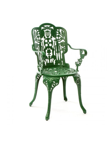 Chair Aluminium Outdoor Victorian Design Chair with Armrests Green Seletti - Play Offside