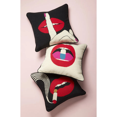 Pillow Lips Hush Needlepoint Throw Pillow Jonathan Adler - Play Offside