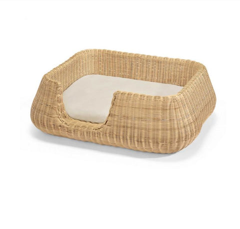 Dog Bed Wicker Design Dog Basket Mio Available in 2 colours & sizes M / Beige MiaCara - Play Offside