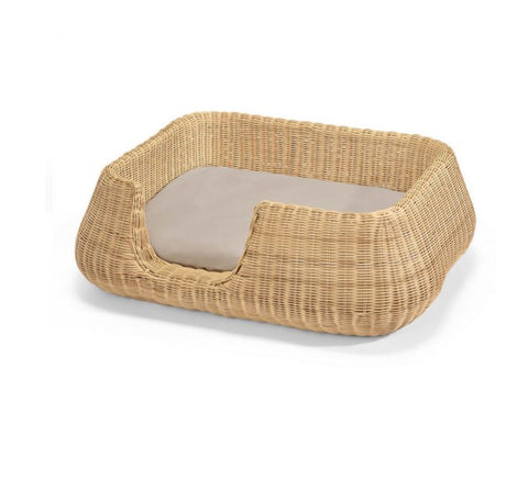 Dog Bed Wicker Design Dog Basket Mio Available in 2 colours & sizes M / LightBrown MiaCara - Play Offside