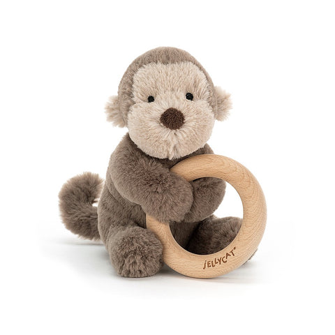 Teddybear with Ring Monkey Teddybear with Wooden Ring for Baby Teething Suitable from Birth Jellycat - Play Offside