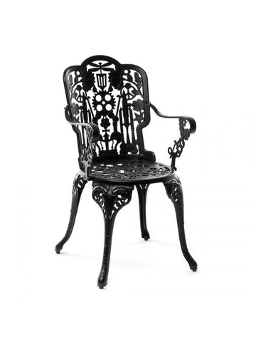 Chair Aluminium Outdoor Victorian Design Chair with Armrests Black Seletti - Play Offside