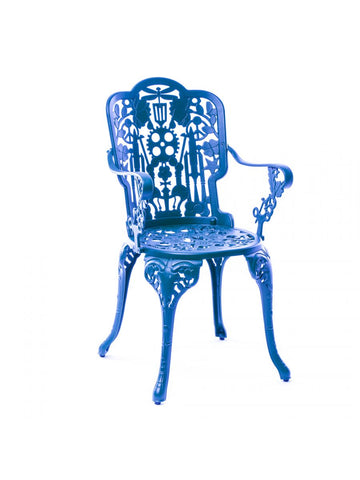 Chair Aluminium Outdoor Victorian Design Chair with Armrests Blue Seletti - Play Offside