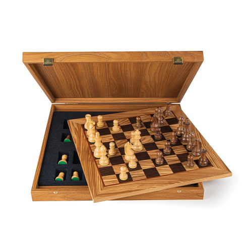 Chess Set Olive Burl Luxury Chess Set 50cm Board and Staunton Chessmen 9.5cm King Manopoulos - Play Offside