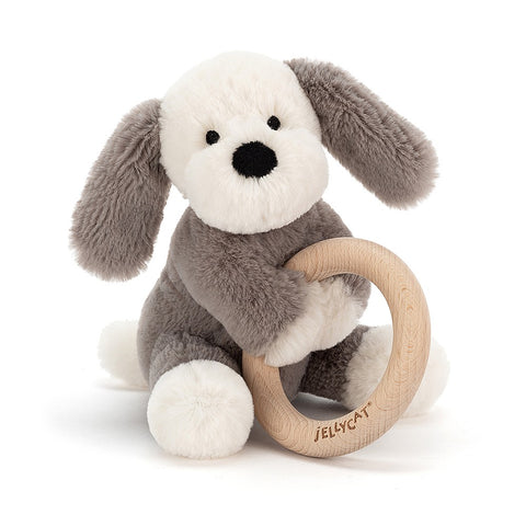Teddybear with Ring Puppy Teddybear with Wooden Ring for baby Teething Suitable from Birth Jellycat - Play Offside