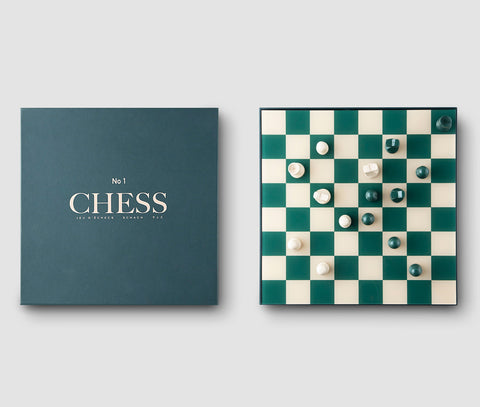 Chess Set Modern Green Coloured Chess Set Including Board & Chessmen PrintWorksMarket - Play Offside