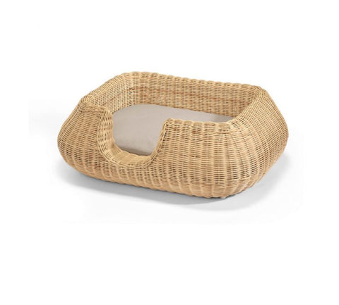 Dog Bed Wicker Design Dog Basket Mio Available in 2 colours & sizes S / LightBrown MiaCara - Play Offside