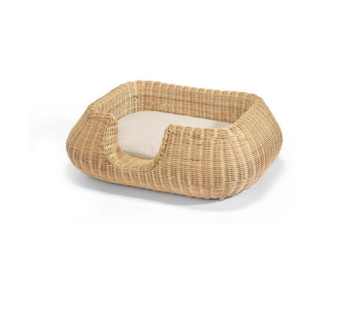 Dog Bed Wicker Design Dog Basket Mio Available in 2 colours & sizes S / Beige MiaCara - Play Offside