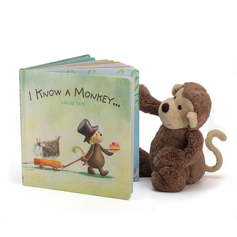 Teddybear & Book I Know a Monkey Book & Bashful Monkey Teddybear Jellycat - Play Offside