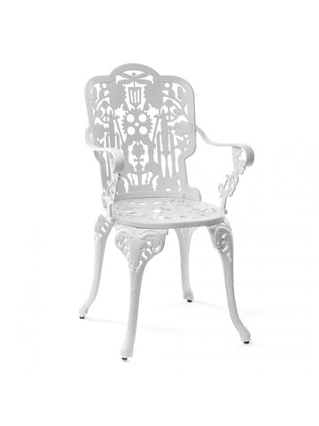 Chair Aluminium Outdoor Victorian Design Chair with Armrests White Seletti - Play Offside