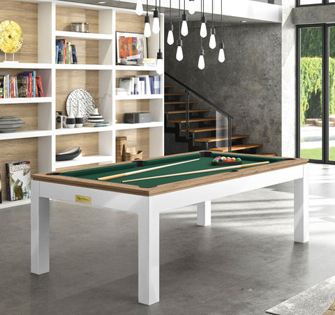 Pool Table Billiard Horizon Pool Table White Legs Oak Top / English Green Rene Pierre - Play Offside