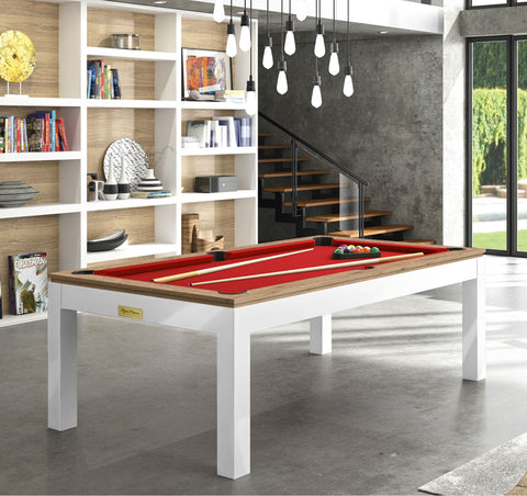 Pool Table Billiard Horizon Pool Table White Legs Oak Top / Red Rene Pierre - Play Offside