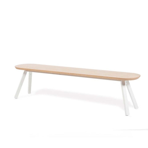 Bench You and Me Bench & Stool 180 / White & Oak Wood RS Barcelona - Play Offside