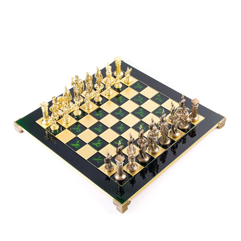 Chess Set Greek Roman Period Metal Chess Board & Men Available in 2 colours Manopoulos - Play Offside