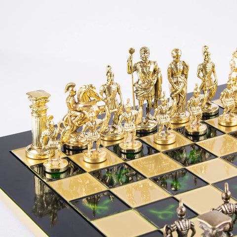 Chess Set Greek Roman Period Metal Chess Board & Men Available in 2 colours Green Manopoulos - Play Offside