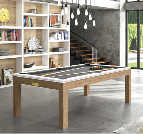 Pool Table Billiard Horizon Pool Table Oak Legs White Top / Grey Rene Pierre - Play Offside