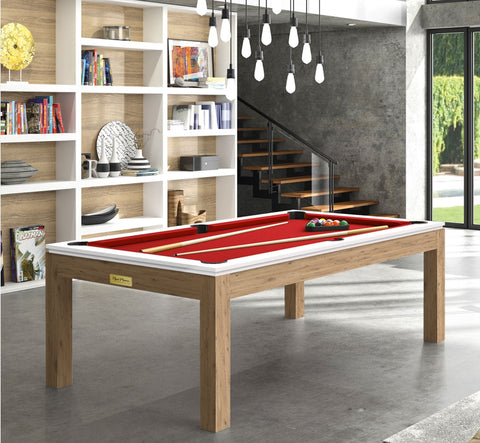 Pool Table Billiard Horizon Pool Table Oak Legs White Top / Red Rene Pierre - Play Offside