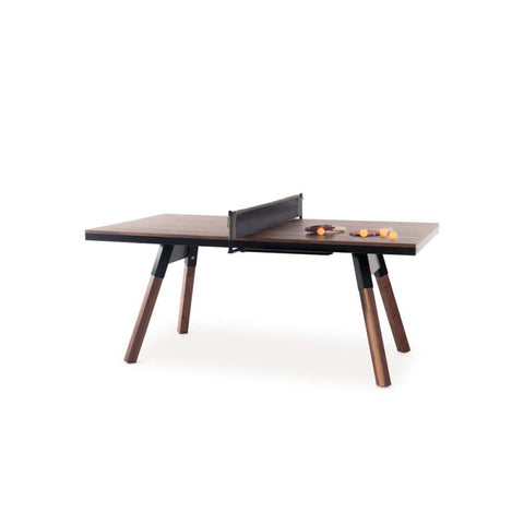 Ping-Pong Table 180 You & Me Ping-Pong Table / Dinning Table Walnut Wood & Black RS Barcelona - Play Offside