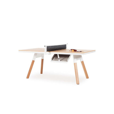 Ping-Pong Table 180 You & Me Ping-Pong Table / Dinning Table Oak Wood & White RS Barcelona - Play Offside