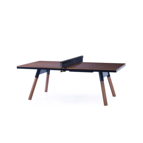 Ping-Pong Table 220 You & Me Ping-Pong Table / Dinning Table Walnut Wood & Black RS Barcelona - Play Offside