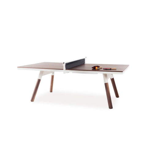 Ping-Pong Table 220 You & Me Ping-Pong Table / Dinning Table Walnut Wood & White RS Barcelona - Play Offside