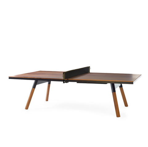 Ping-Pong Table You & Me Ping-Pong Table Tournament Size / Office / Dinning Table Walnut Wood & Black RS Barcelona - Play Offside
