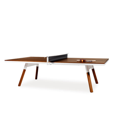 Ping-Pong Table You & Me Ping-Pong Table Tournament Size / Office / Dinning Table Walnut Wood & White RS Barcelona - Play Offside