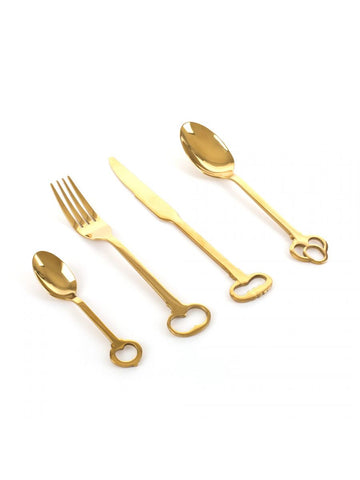 Cutlery Set of 24 Cutlery 18/0 Stainless Electroplated - Gold Keytlery Seletti - Play Offside