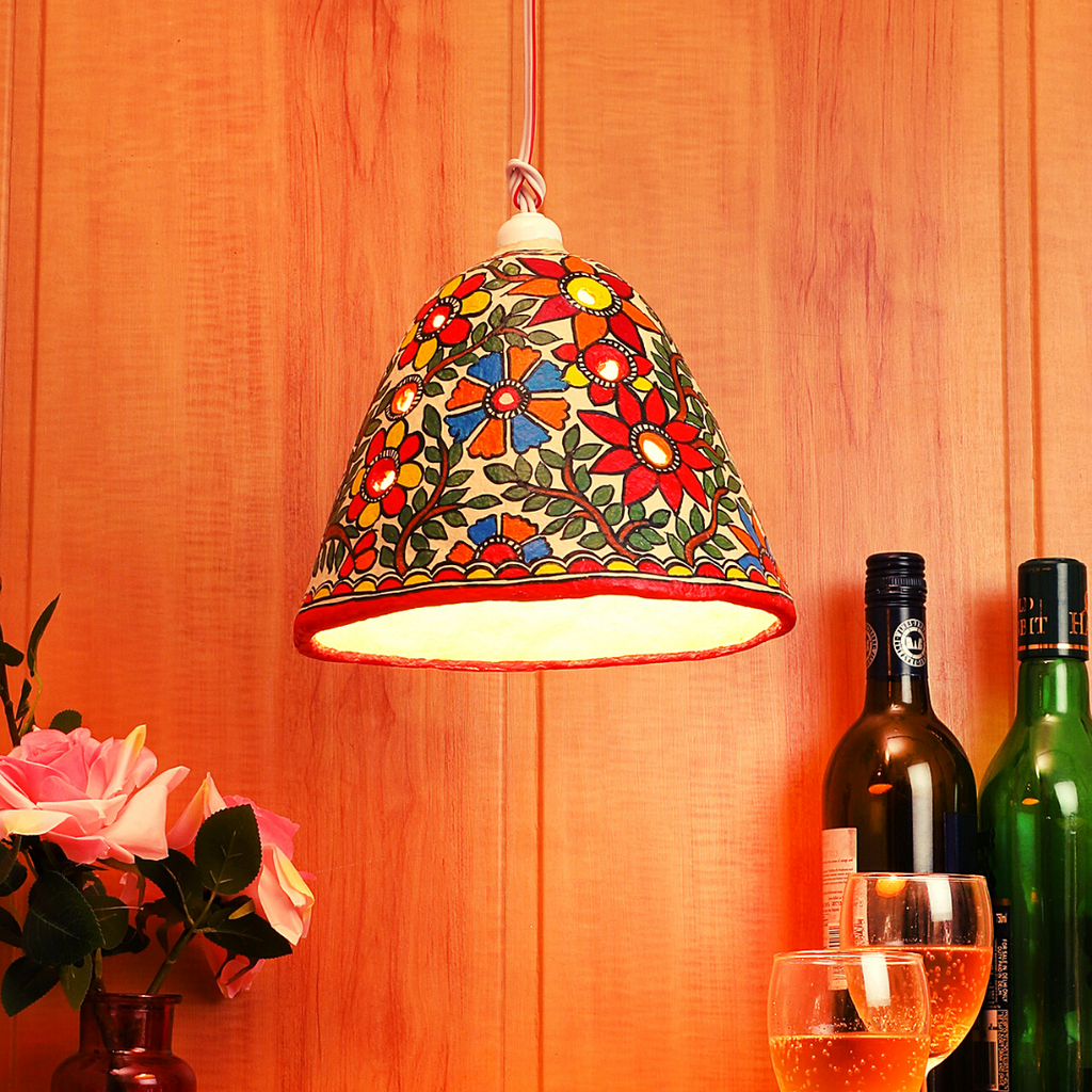 Best handmade hanging lamp for home decor made with papier mache technique from Mithila House