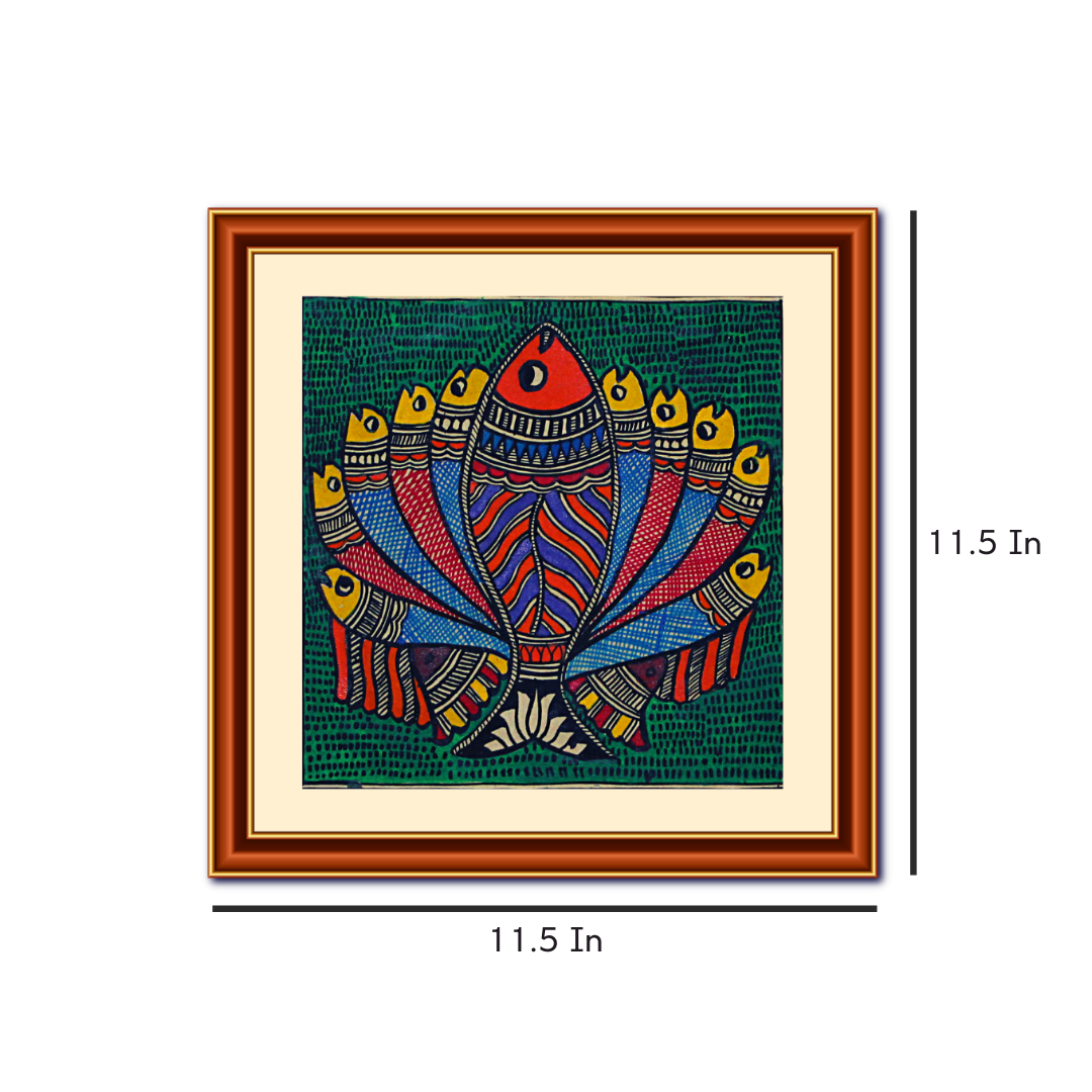 SCHOOL OF FISH IN LOTUS FORM HANDMADE MADHUBANI PAINTING