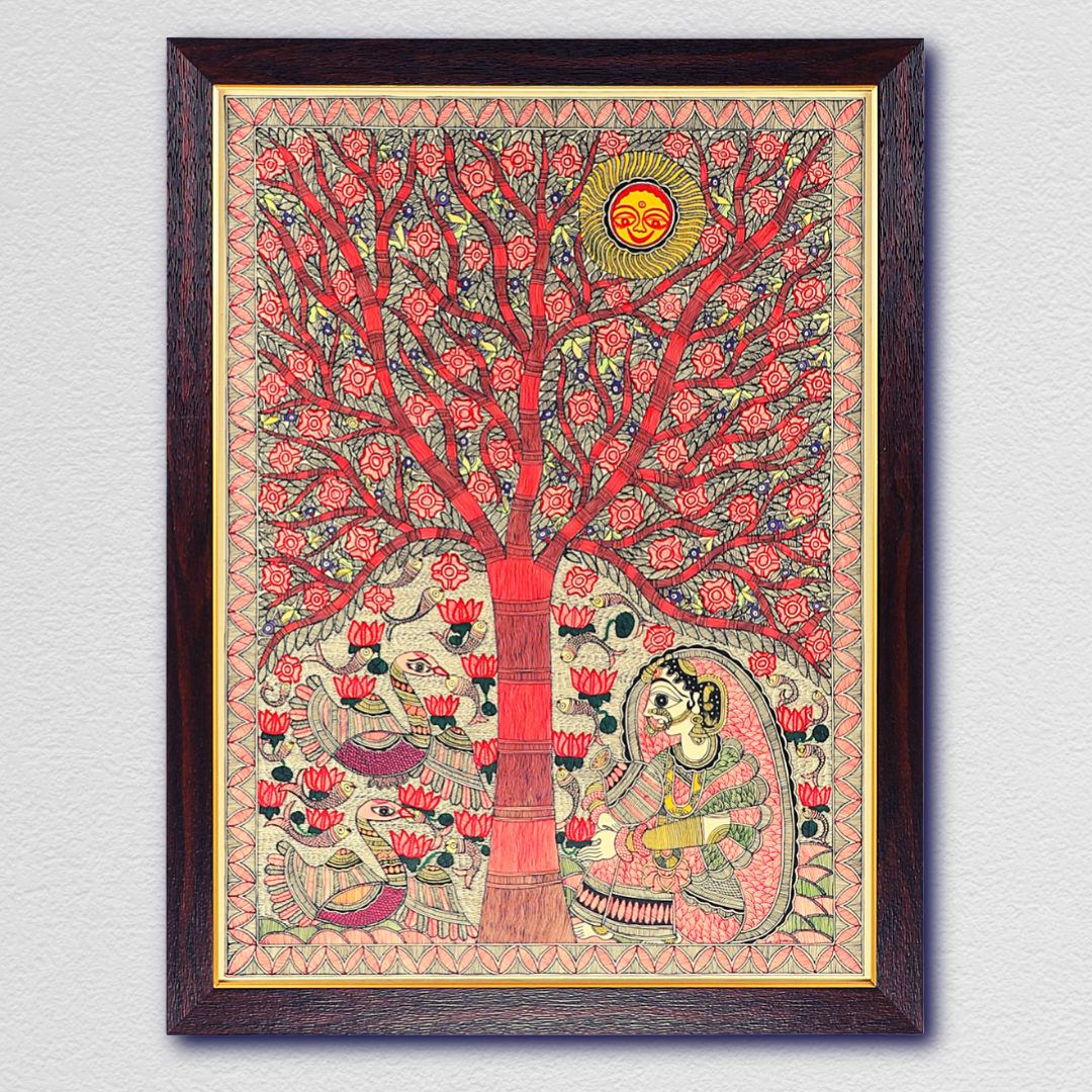 The Wait of the Bride Soulful Handmade Madhubani Painting