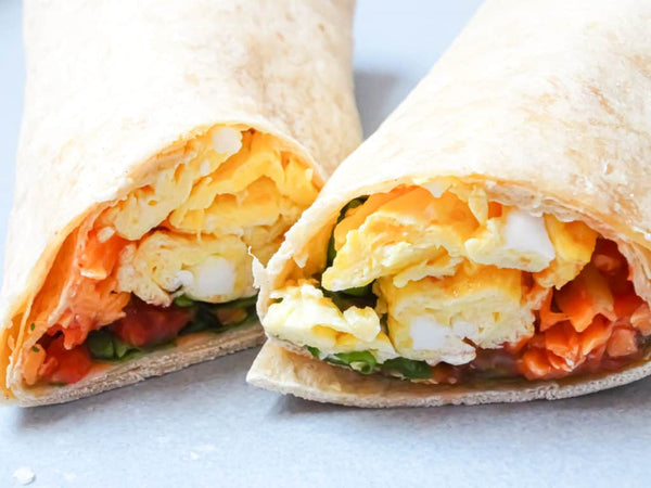 Bacon, egg, spinach breakfast wrap
