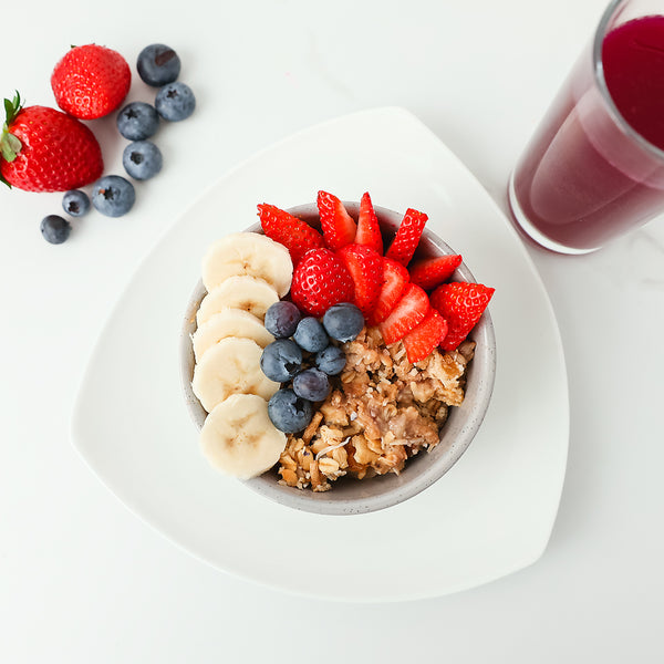 Protein Peanut Butter and Cinnamon Soaked Muesli with Fresh Seasonal Fruits