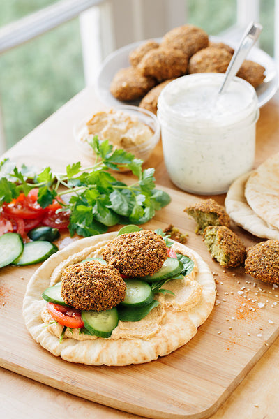 Vegan falafel wrap, summer salads & vegan tahini