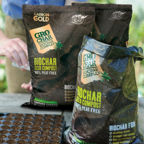 Carbon  Gold (PeatFree) Biochar Seed Compost -Soil Ass Approved - 6 x 8l
