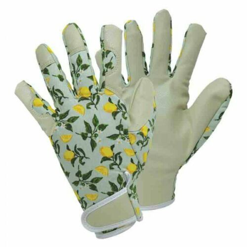 Briers Ladies Leather Professional Gardening Gloves Sicilian Lemon MEDIUM/Size 8