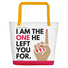 Load image into Gallery viewer, Plain and Simple I Am the One Large Tote Bag White - Luke 15:4