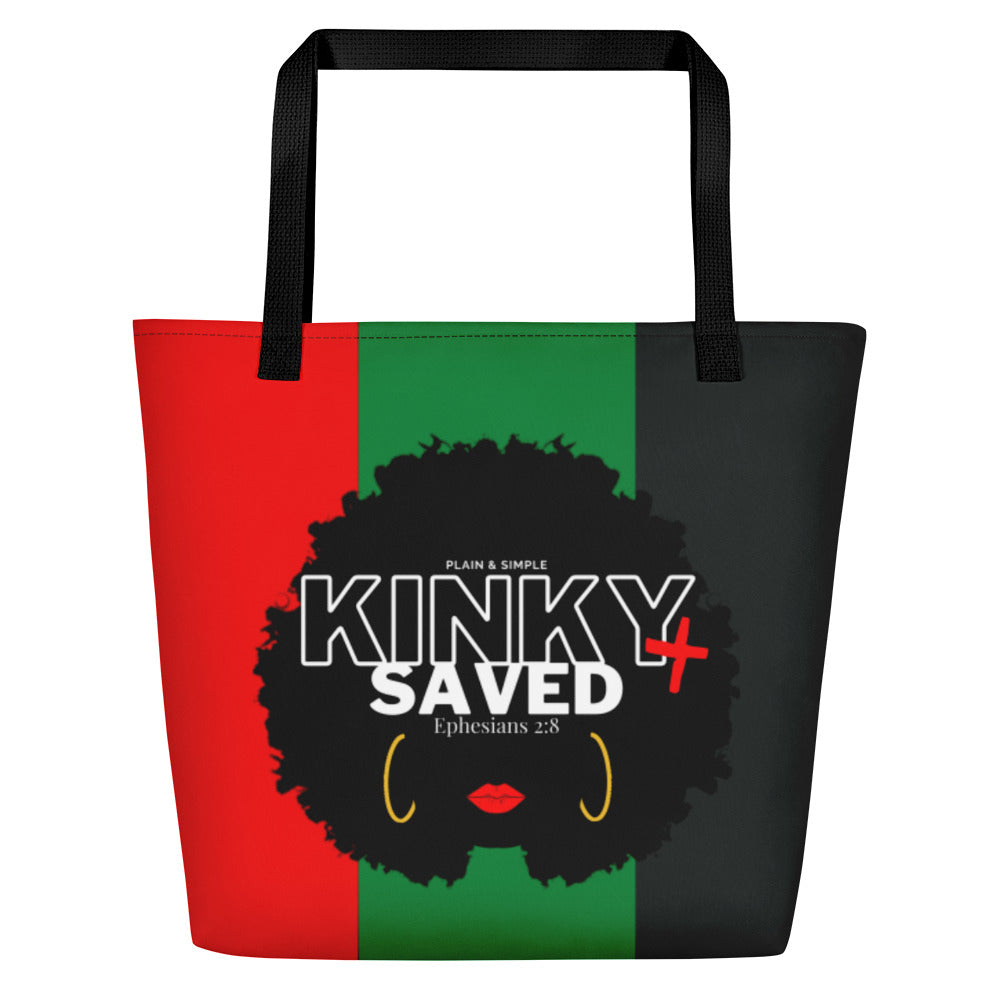 Plain and Simple Kinky and Saved Large Tote Bag - Ephesians 2:8
