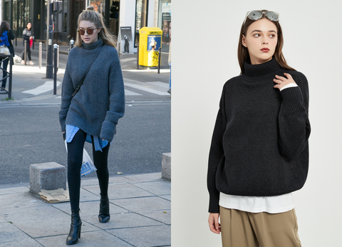 Turtleneck Knit Sweater | Tops | Whizz