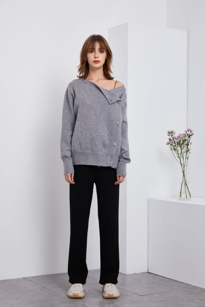 Off-shoulder Button Up Sweater - Whizz