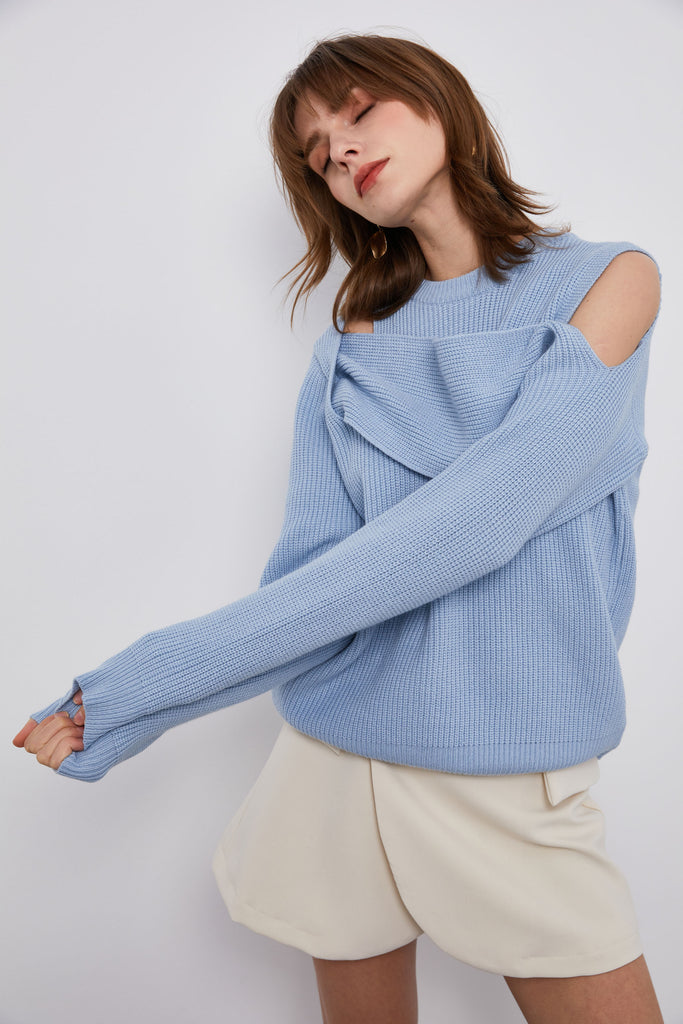 Sky Blue Asymmetric Sweater- Whizz