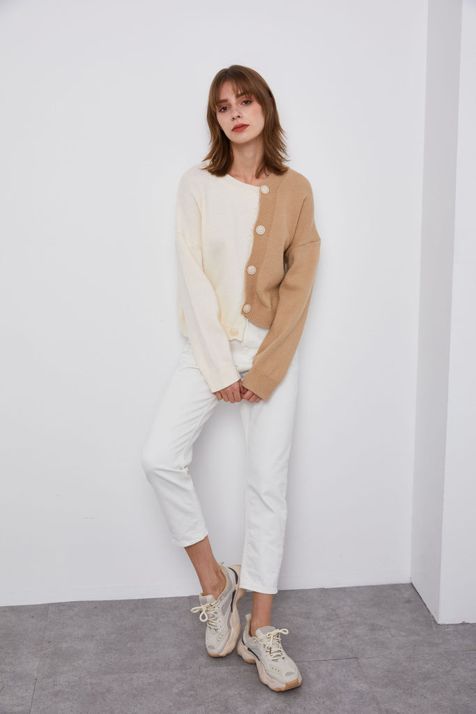 Latte Brown  Asymmetric Sweater - Whizz
