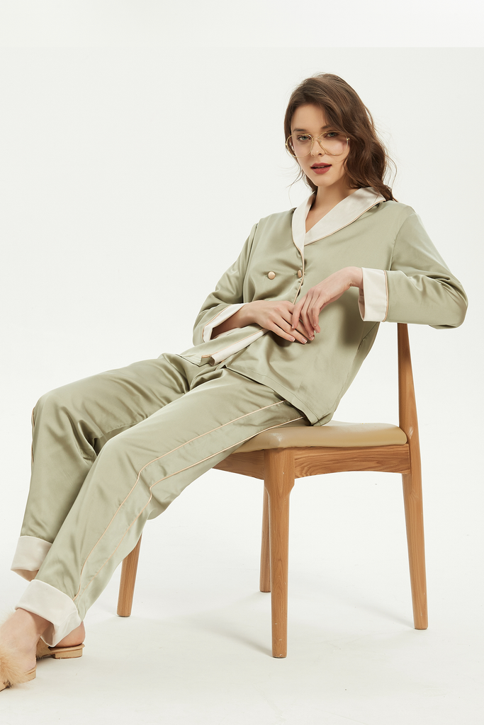 Double-Breasted Insert Velvet Pajama Set - Avocado -Whizz