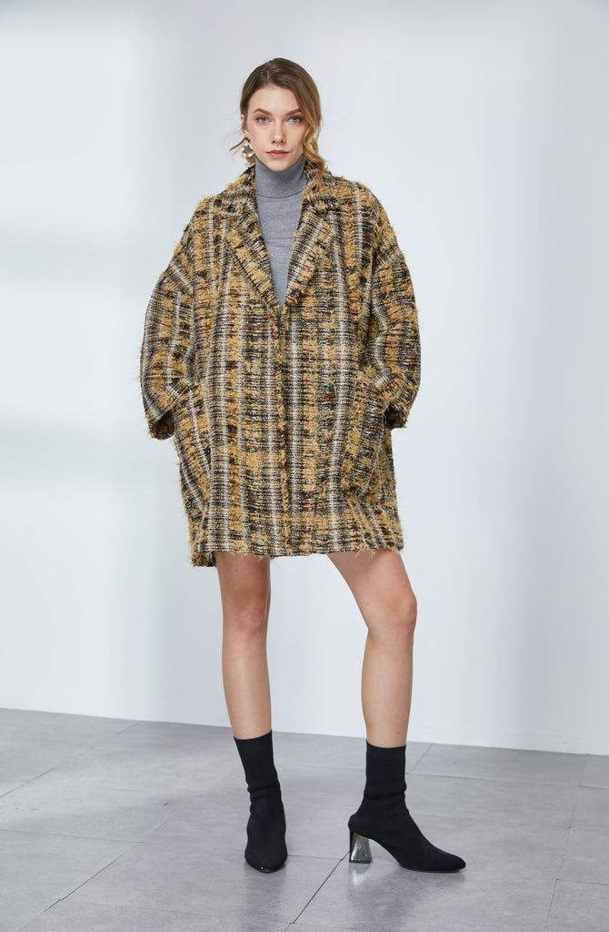 Oversized Tweed Plaid Coat-Whizz