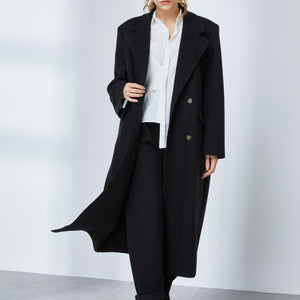 Double-Breast Wool-blended Coat with Shoulder Pads