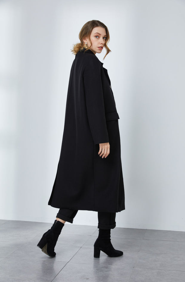 Double-Breast Wool-blended Coat with Shoulder Pads 1