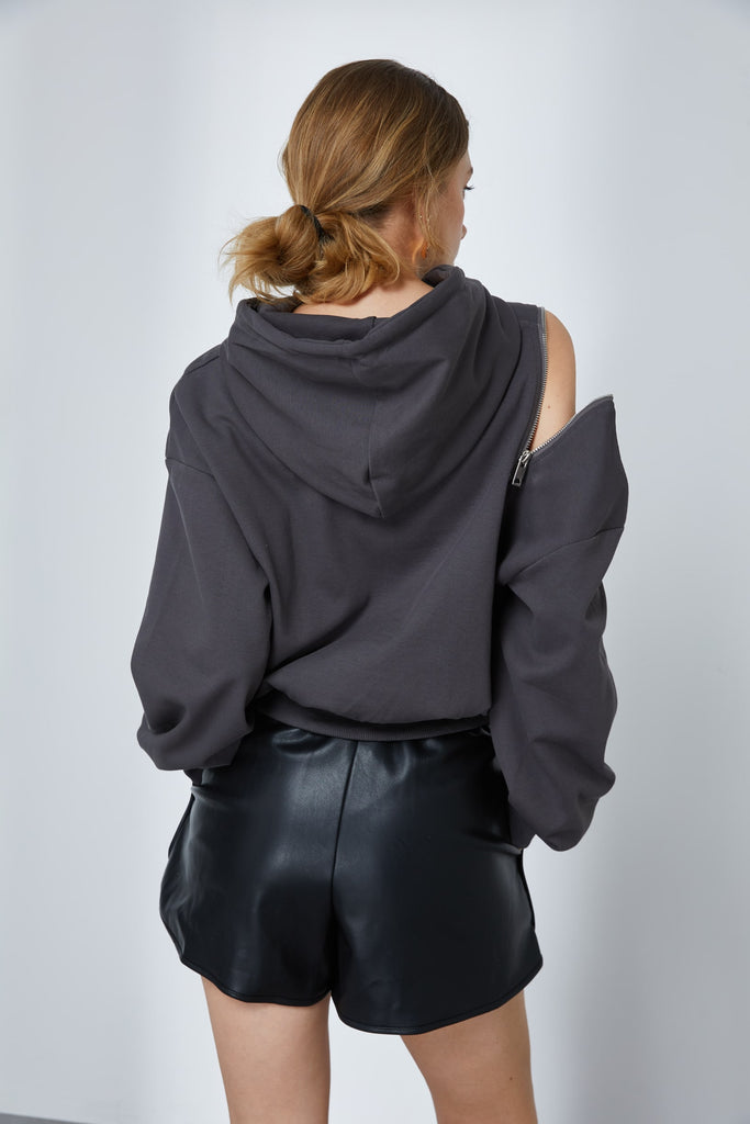 Charcoal Hoodie With Embellished Zip -Whizz