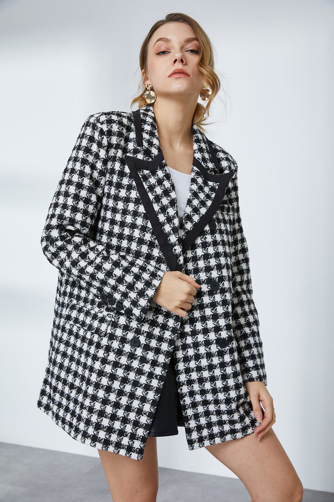 Houndstooth Shoulder-Padded Blazer- Whizz