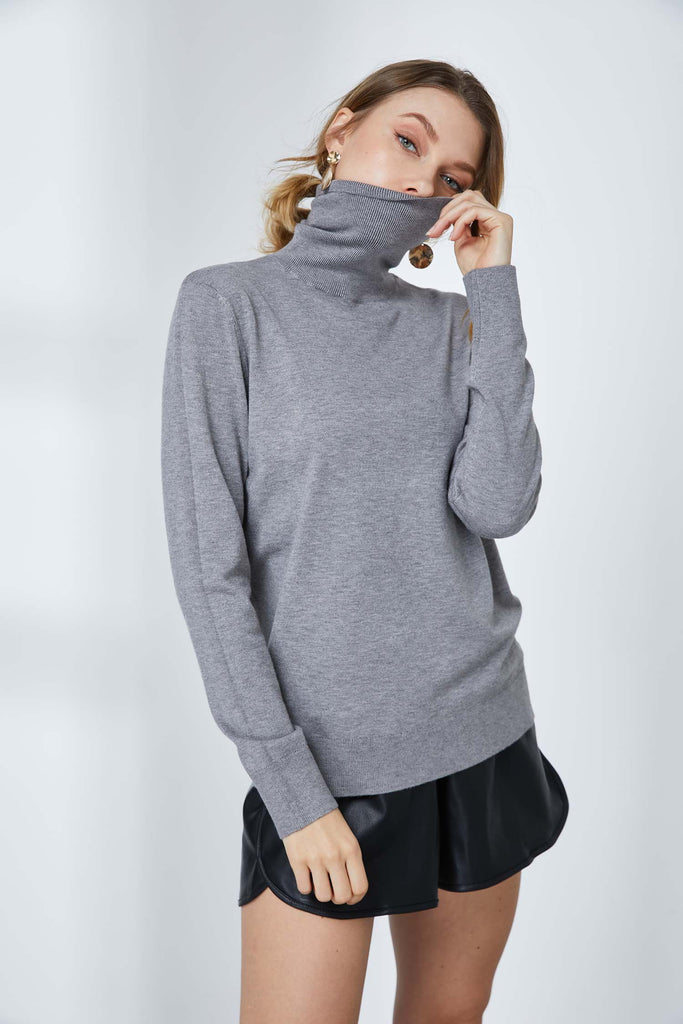 Knit Turtleneck Fitted Sweater -Whizz